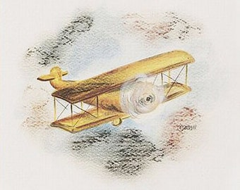 Vintage Airplane Print, little boy print, airplane print, print, airplanes, childrens decor, childrens art, nursery, biplane