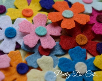 Mini Double Layered Felt Flowers, Pack of Multi Coloured Small Flowers, Decorative Flowers, Felt Shapes, Die Cut Floral Craft Embellishments