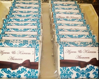 Blue damask, Blue and brown, Ameen, Quran favors, hafiz, bismillah, Muslim gifts, islamic gifts, hajj, eid, ramadan party favors, 24 count