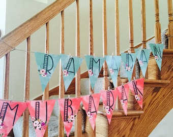 Custom banner, personalized banner, watercolor banner, birthday banner, party banner, eid decoration, ramadan decoration, eid banner, coral