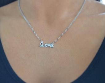 Love necklace. Sterling silver love necklace. Monogram love necklace. Love script cursive love necklace. Kourtney Kardashian love necklace.