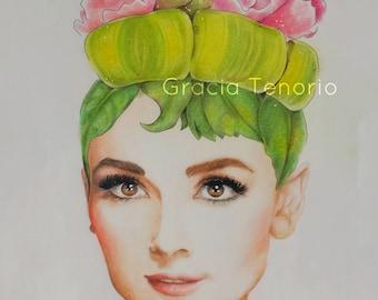Audrey Hepburn's peonies hairstyle portrait. Print from original