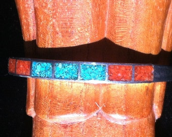 Silver Bracelet with Turquoise and Coral in Channel