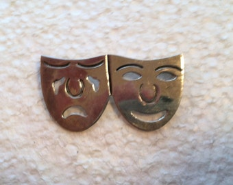 Vintage Sterling Silver Pin Comedy & Tragedy Mexico