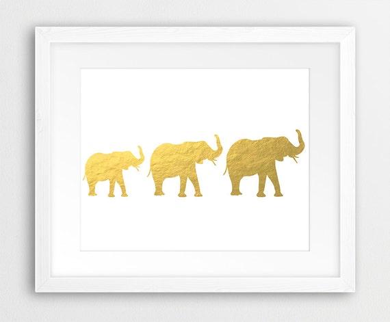 Elephant Printable Gold Elephant Print Three Elephants
