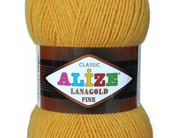 LANAGOLD FINE Alize 100 gr.- 390 m. knitting crochet, Soft yarn , Wool Yarn, Wool mixture