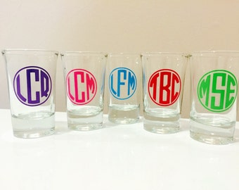 Monogram Shot Glasses Custom 21st birthday gift