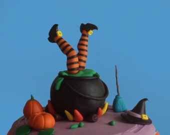 Halloween Fondant Cake Topper Witch's Accident in the Pot, Witch Feet, Witch Broom and Hat