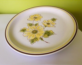 A Large 1970's Stoneware Serving Plate Golden Poppy by Daniele Vintage Japan