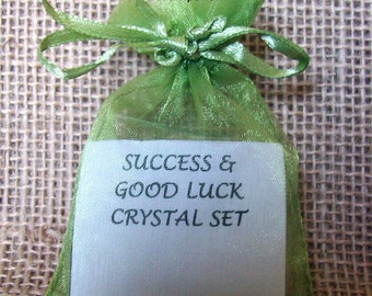 Success and Good Luck Crystal Set includes 3 Stones, helpful information and Organza Bag