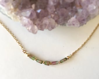 Tourmaline necklace/ watermelon tourmaline/ 14k gold filled/ October birthstone/ October gift/ Minimalist necklace