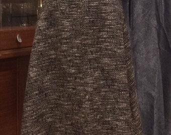 Vintage 1950's Black and White Tweed Wool Blend Skirt
