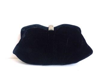 60s black velvet clutch, evening bag, frame clutch, rhinestone clasp  clutch bag, 1960s mad men purse, fancy handbag, minimalist velvet bag
