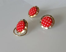 Polka Dot Earrings - Vintage Earring Set - Red Earrings  Christmas Jewelry - Gift for Her - Christmas Gift - 50s Jewelry Mad Men Jewelry