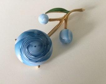 Blue Flower Brooch- Blue Brooch- Vintage Blue Brooch- Bright Brooch- 60s brooch Flower Jewelry- Summer Brooch