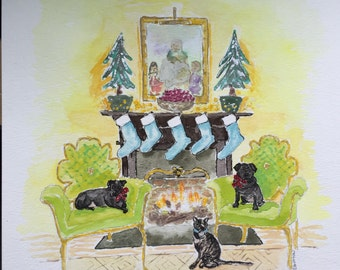 Christmas card art©, watercolor painting created for your christmas cards