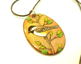 chickadee, chickadee, black capped chikadee pendant, bird pendant, enamel on copper, copper enameling
