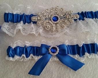 Acrylic Rhinestone Applique Lace garter set, , Pearl Rhinestone, blue satin, Wedding garter, Bridal garter set, Custom garter set