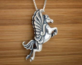 Pegasus Winged Horse 3D Pendant - STERLING SILVER- Chain Optional