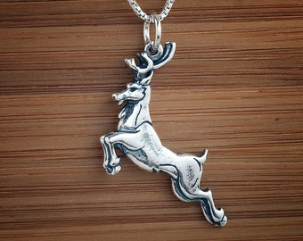 Stag Pendant or Earrings My ORIGINAL- STERLING SILVER-  Chain Optional