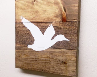 Small Flying Duck Wood Sign - Wooden Duck Wall Hanging - Woodland Nursery Decor - Painted Wildlife Art - Cabin Decor