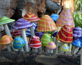 Set of Ceramic Mushrooms, Mushroom Variety Packs-THE FANTASY COLLECTION, Colorful Mushrooms, Garden Stakes, Toadstools