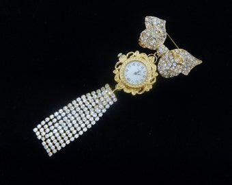 OOAK Repurposed Vintage Waterfall Bow Brooch with Working New Quartz Watch