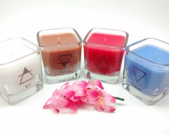 Four Element Candles, Wiccan Candles, Pagan Candles, Witchcraft Decor, Occult Candle, Altar Candles, Ritual Candles, Spell Candles