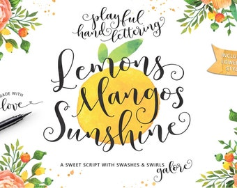 Lemons Mangos Sunshine Hand Lettered Calligraphy Script Font Commercial Download