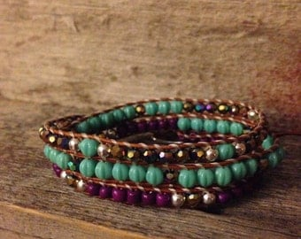 Teal/Purple Wrap Bracelet