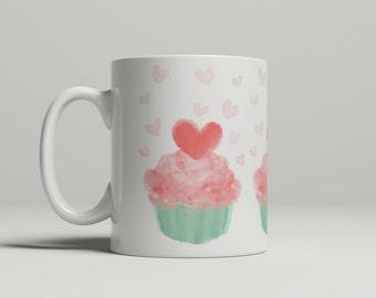 Love & Cupcakes Mug, cupcakes mug, pink mug, gifts for her, birthday gift, valentines mug, hearts mug, double sided mug