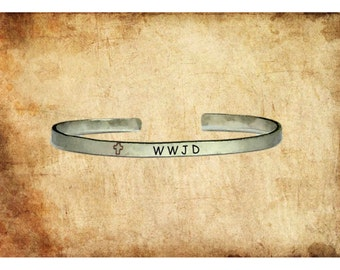 "WWJD What Would Jesus Do | Custom Cuff Bracelet Personalized Jewelry Hand Stamped 1/4"" Adjustable Stacking Copper Brass Aluminum"