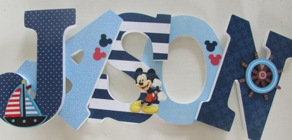 mason 9 mickey mouse nautique lettres bois de la chambre de. Black Bedroom Furniture Sets. Home Design Ideas