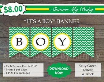 75% Off SALE- Green Yellow IT'S A BOY Banner - Printable Tractor Shower Banner - Kelly Green Yellow - Deere Baby Decorations -Diaper Raffle