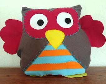 Striped Owl Plushie: Grey, Red, Orange & Blue