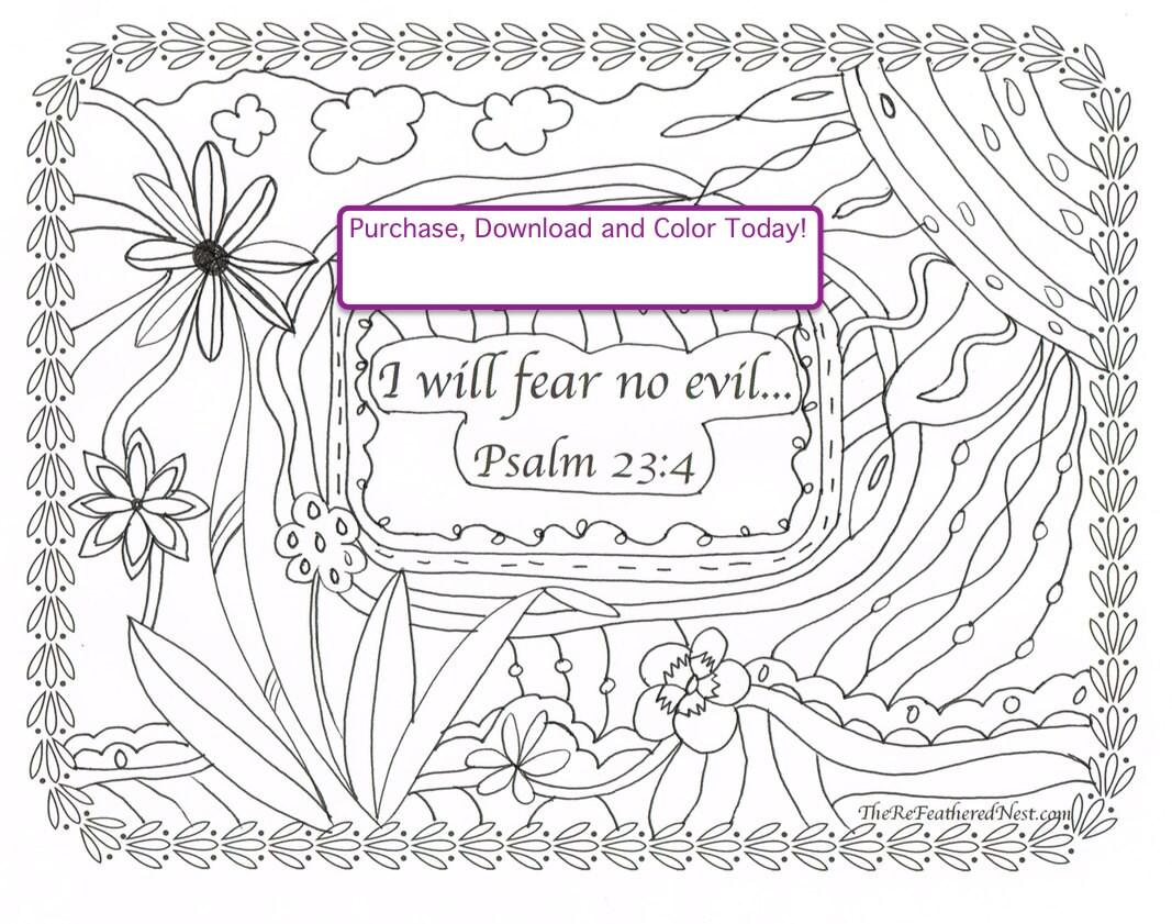 psalm 23 4 downloadable scripture coloring page
