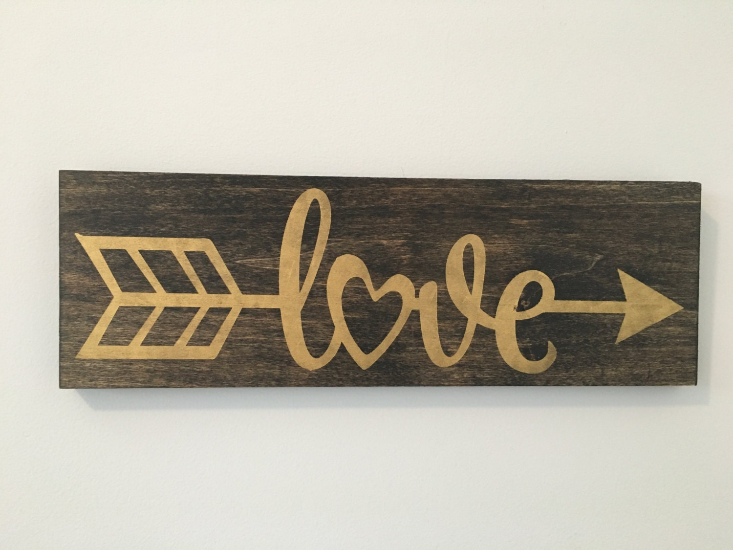 Love arrow sign wood sign gold decor gallery wall decor for Love sign