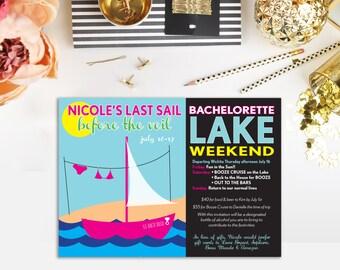 Bachelorette Party Invitation, Last Sail Before the Veil, lake bachelorette party, lake party invitation, download printable invitation