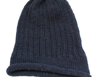 Rib Hand knit Beanie Black