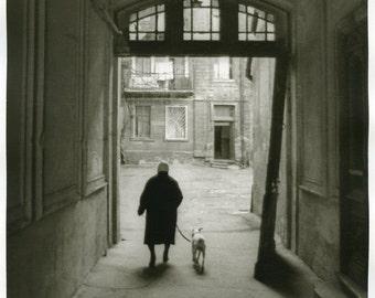 Old woman with a dog(1980)-silver gelatin darkroom print