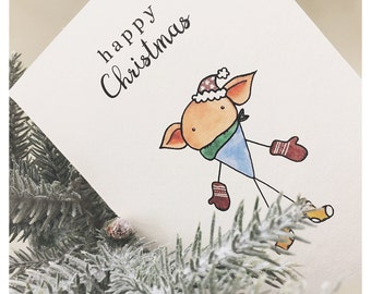 Dobby Christmas Card // Harry Potter, Dobby, Elf, Happy Christmas, Harry Potter Christmas, Harry Potter Greeting, Harry Potter Card, Holiday