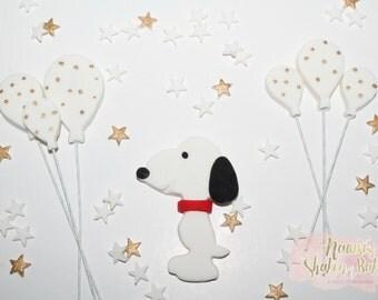 Edible Snoopy Puppy Dog Balloon Fondant Cake Topper Set 6-8cm