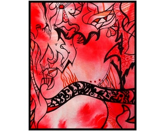 Red Abstract Art Original Ink Drawing Modern- Destination by Caerys Walsh