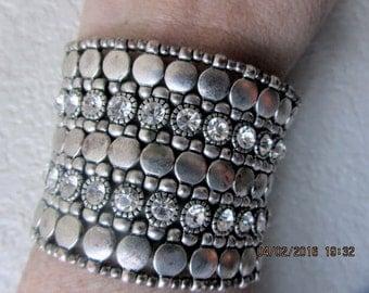 Cuff silver bracelet stretch wide rhinestones, gorgeous vintage