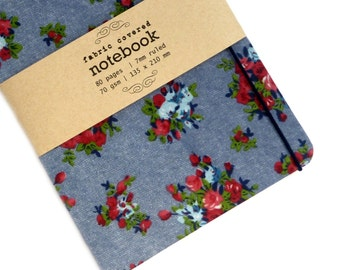 Denim Floral Fabric Covered Notebook