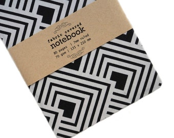 Navy Geometric Fabric Covered Notebook