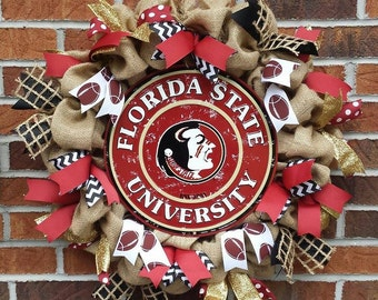 Burlap Florida State University Seminoles FSU Football Wreath