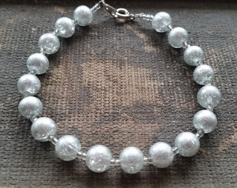 Silver Beaded Bracelet, Handmade Bracelet-Ready To Ship