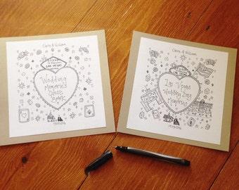 Wedding Venue and Honeymoon Illustration. Two Illustrations. Mounted Wedding Illustrations. Bespoke & Personalised Wedding Gift.