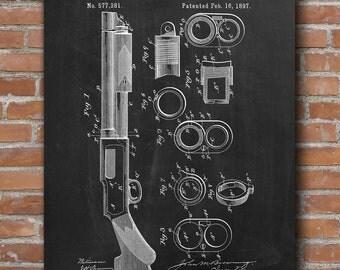 Gun Firearm Patent, Shotgun Patent, Gun Art, Gun Decor, Military Poster  - DA0410